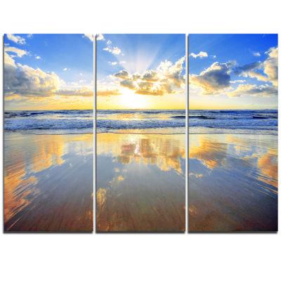 Designart Blue Sky And Clouds Mirrored In Sea Seashore Triptych Canvas Art Print