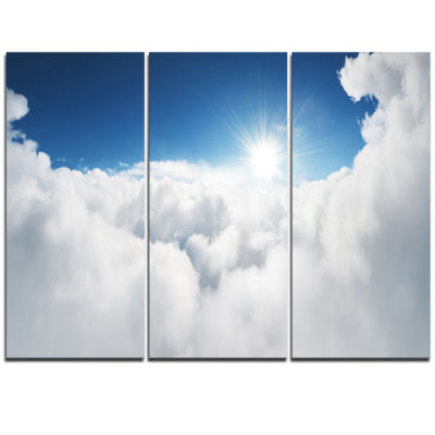 Designart Blue Sky And Sun Over Clouds Contemporary Landscape Triptych Canvas Art