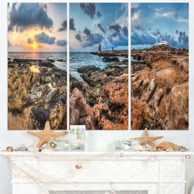 Designart Blue Sky Over Rough Rocky Coast Extra Large Seashore Triptych Canvas Art