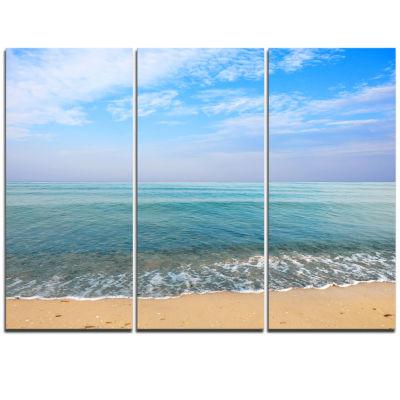 Designart Blue Sky Sand Sun Daylight Large Seashore Triptych Canvas Print