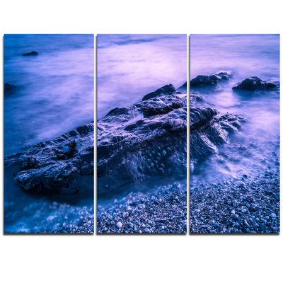 Designart Blue Slow Motion Sea Waves Modern Seascape Triptych Canvas Artwork
