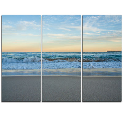 Designart Blue Splashing Scene Beach Large Seashore Triptych Canvas Print