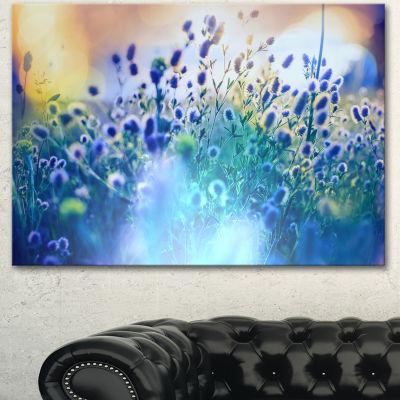 Designart Blue Summer Flowers On Meadow Floral Canvas Art Print
