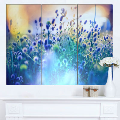 Designart Blue Summer Flowers On Meadow Floral Canvas Art Print - 3 Panels
