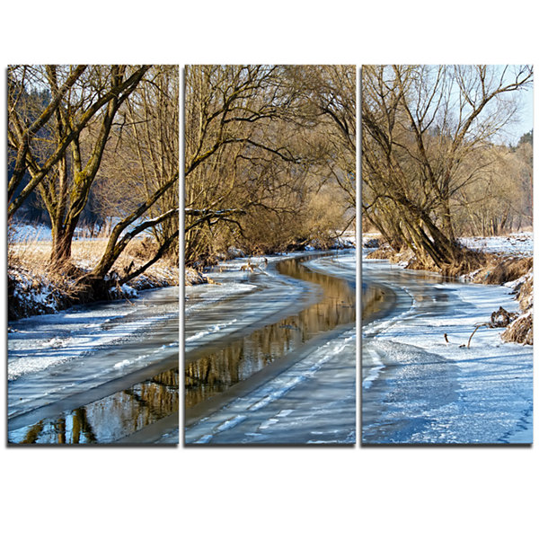 Design Art Blue Sunny Day In Winter Landscape Landscape Artwork Triptych Canvas