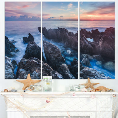 Designart Blue Sunrise Over Coast Of Sicily BeachPhoto Triptych Canvas Print