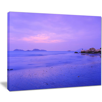 Designart Blue Sunset At Lung Kwu Tan Coastline Landscape Artwork Canvas