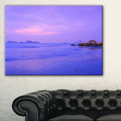 Designart Blue Sunset At Lung Kwu Tan Coastline Landscape Artwork Canvas
