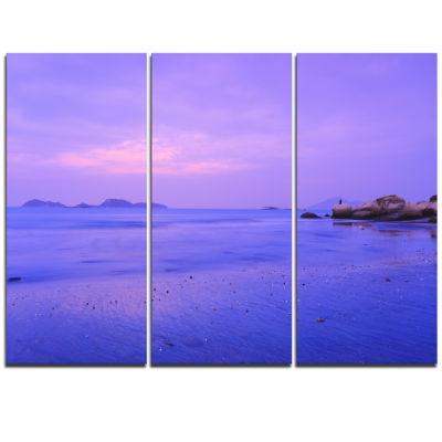 Designart Blue Sunset At Lung Kwu Tan Coastline Landscape Artwork Triptych Canvas
