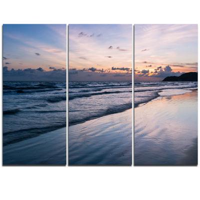 Designart Blue Sunset Sea Waves Thailand OversizedBeach Triptych Canvas Artwork