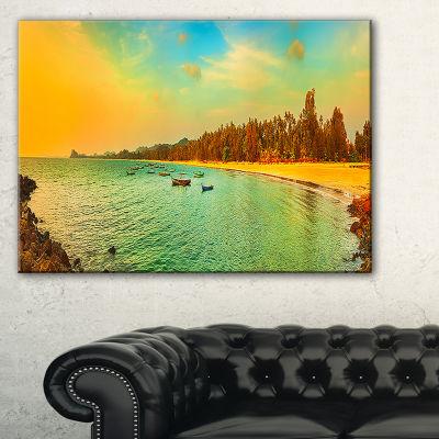 Designart Blue Tinged Indian Ocean Panorama LargeSeascape Art Canvas Print