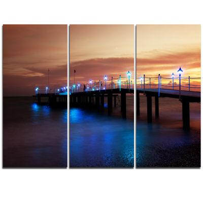 Designart Blue Waters And Bridge At Sunset Sea Bridge Triptych Canvas Art Print