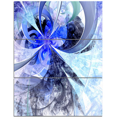 Designart Blue White Fractal Flower Pattern FloralTriptych Canvas Art Print