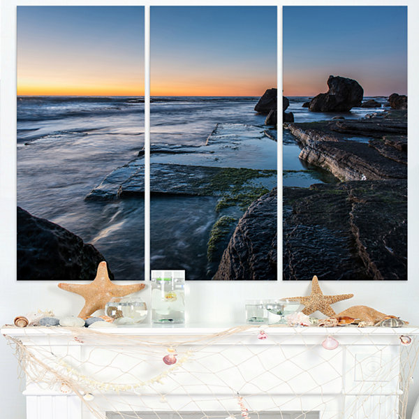 Designart Bluish Sea Waters At Sydney Beach LargeSeashore Triptych Canvas Print