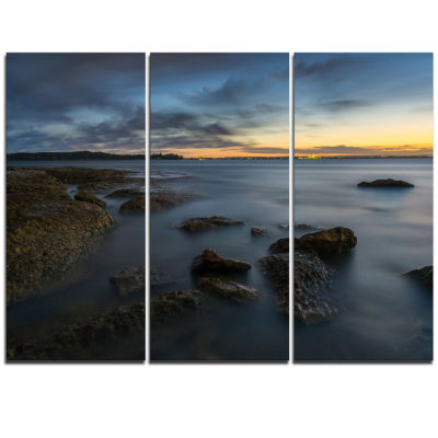Designart Bluish Sunset At La Perouse Sydney LargeSeashore Triptych Canvas Print