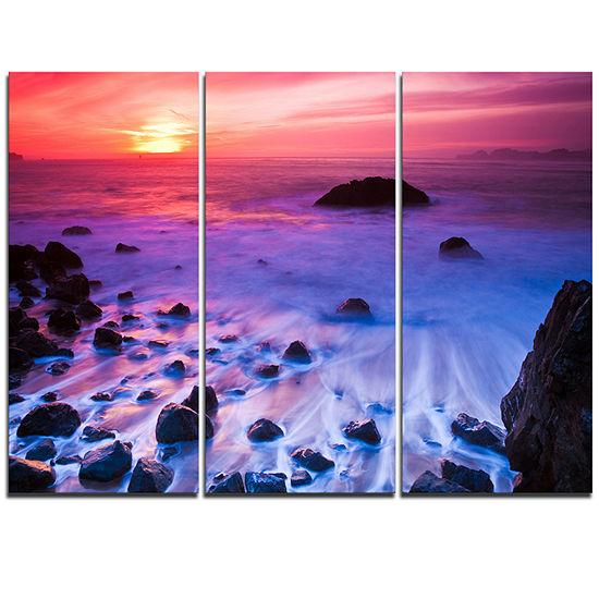 Designart Bluish Waters At Sunset Panorama ModernSeashore Triptych Canvas Art