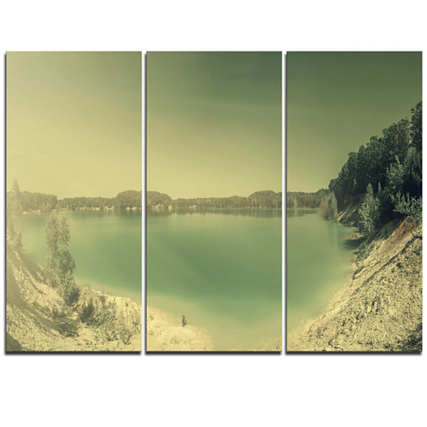 Designart Blurred Sea With Mountain Views Modern Seascape Triptych Canvas Artwork