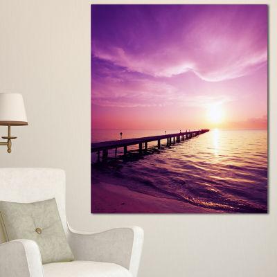 Designart Boardwalk In Purple Seashore Seashore Canvas Art Print - 3 Panels
