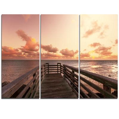Designart Boardwalk On Beach Wooden Pier Sea Bridge Triptych Canvas Art Print