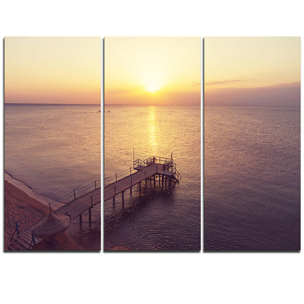 Designart Boardwalk Over The Beach At Sunset Bridge Triptych Canvas Art Print