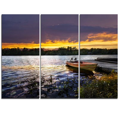 Designart Boat Docked In Lake At Sunset Modern Seashore Triptych Canvas Art