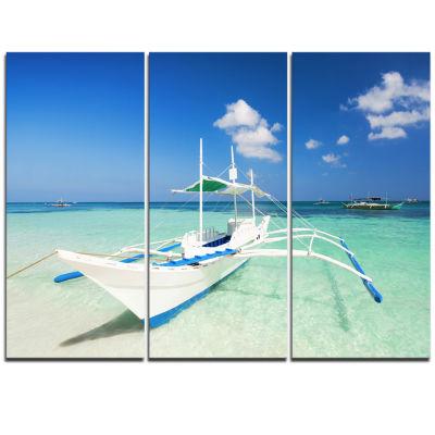 Designart Boat In Blue Sea Water Seascape TriptychCanvas Art Print