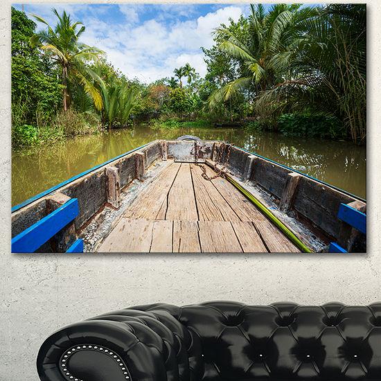 Designart Boat In Mekong River Vietnam OversizedLandscape Canvas Art - 3 Panels