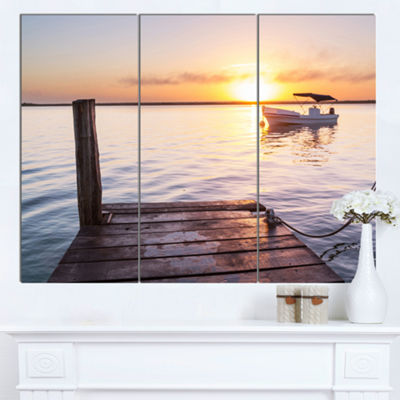Designart Boat View From Boardwalk On Beach Seashore Canvas Art Print - 3 Panels