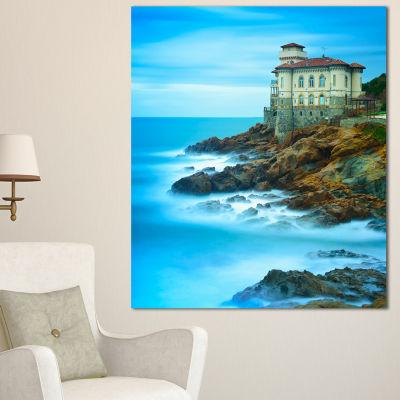Designart Boccale Castle On Cliff Rock And Sea Beach Photo Canvas Print - 3 Panels