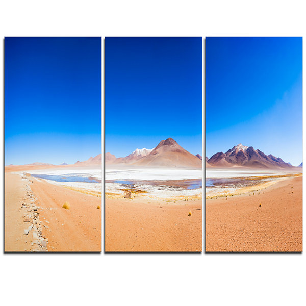 Design Art Bolivia Altiplano Lake Panorama ModernSeascape Triptych Canvas Artwork
