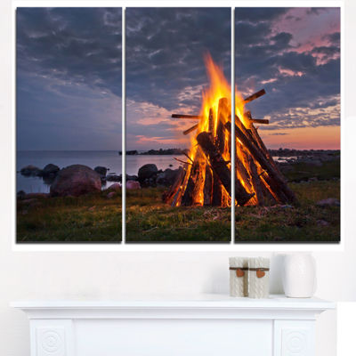 Designart Bonfire On Beach In Summer Night Landscape Triptych Canvas Art Print