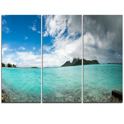 Designart Bora Bora French Polynesia Panorama Large Seascape Art Triptych Canvas Print