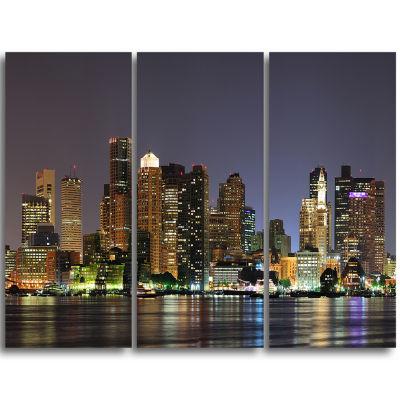 Designart Boston City Night Panorama Cityscape Triptych Canvas Print