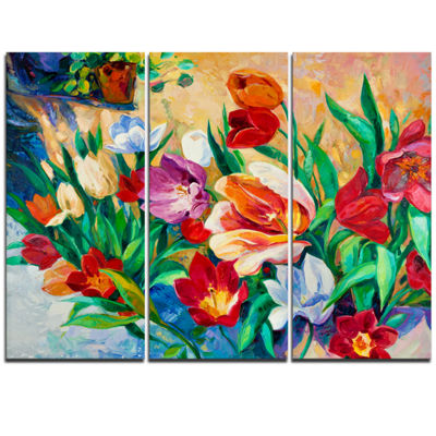 Designart Bouquet Of Colorful Flowers Large FloralWall Art Triptych Canvas