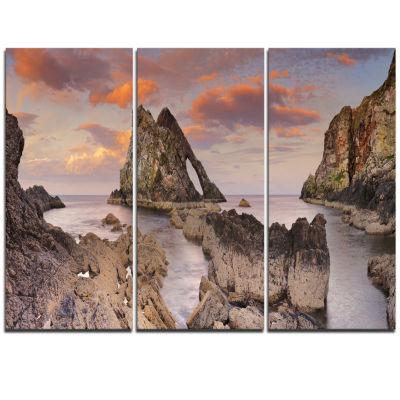 Designart Bow Fiddle Rock Scotland Extra Large Seashore Triptych Canvas Art