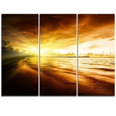 Designart Breathtaking Yellow Caribbean Beach Seascape Triptych Canvas Art Print