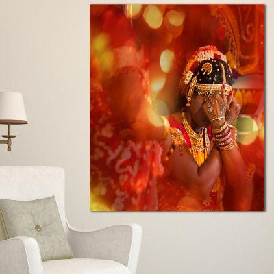 Designart Bride In Typical Hindu Wedding Modern Portrait Canvas Art