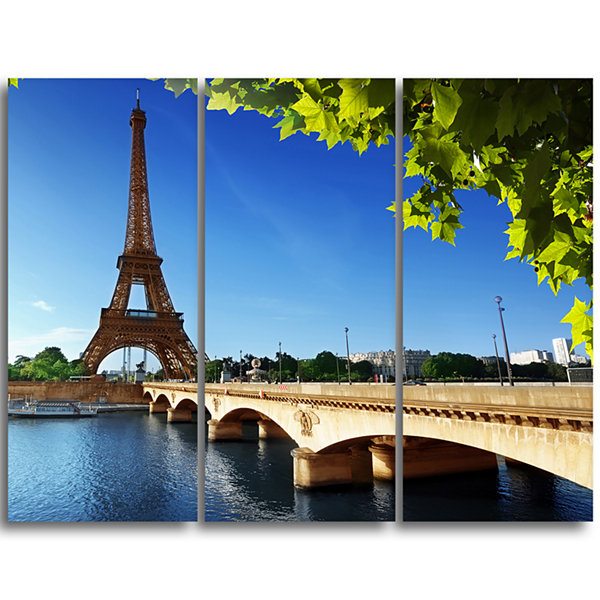 Designart Bridge To Paris Paris Eiffel TowerparisCityscape Triptych Canvas Print