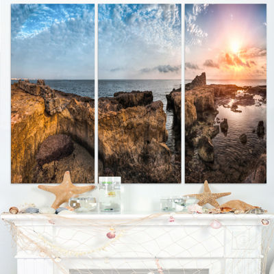 Designart Bright African Seashore Panorama Oversized Beach Triptych Canvas Artwork