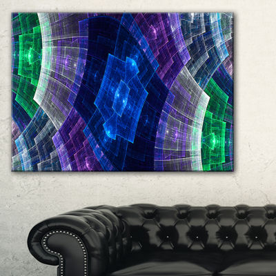 Designart Bright Blue And Green Flower Grid Abstract Art On Canvas