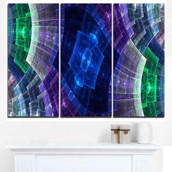 Designart Bright Blue And Green Flower Grid Abstract Art On Triptych Canvas