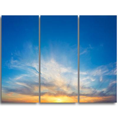 Designart Bright Blue Evening Sky Panorama Contemporary Landscape Triptych Canvas Art