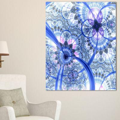 Designart Bright Blue Fractal Floral Pattern Floral Canvas Art Print
