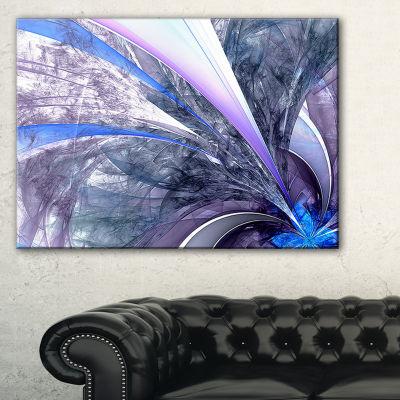 Designart Bright Blue Fractal Flower Design FloralCanvas Art Print