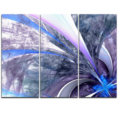 Designart Bright Blue Fractal Flower Design FloralTriptych Canvas Art Print
