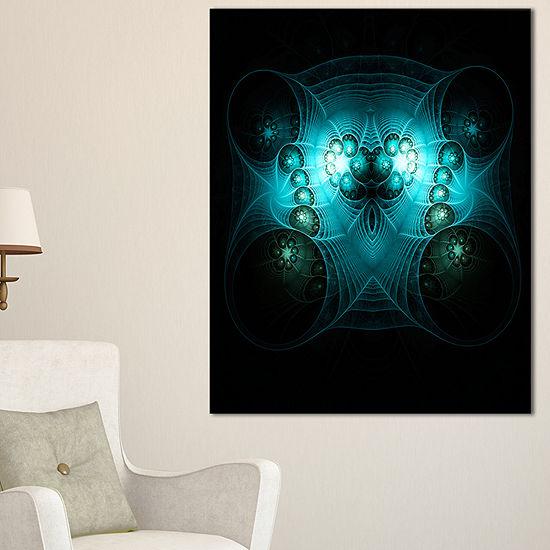 Designart Bright Blue In Black Fractal Flower Large Abstract Canvas Artwork