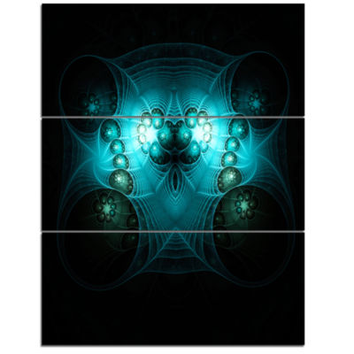 Design Art Bright Blue In Black Fractal Flower Large Abstract Triptych Canvas Artwork