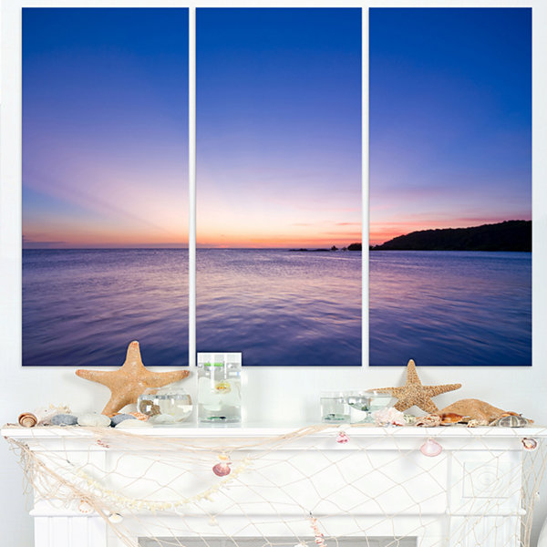 Designart Bright Blue Sky And Waters At Sunset Large Seashore Triptych Canvas Print
