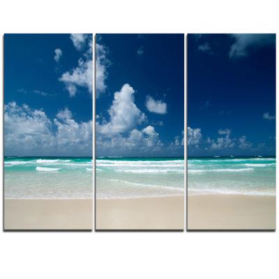 Designart Bright Blue Sky On Winter Day Large Seashore Triptych Canvas Print