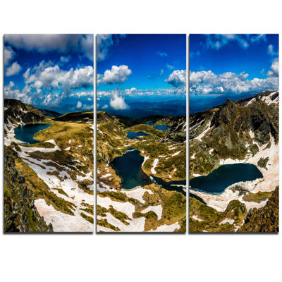 Designart Bright Blue Sky Over Seven Rila Lakes Landscape Triptych Canvas Art Print